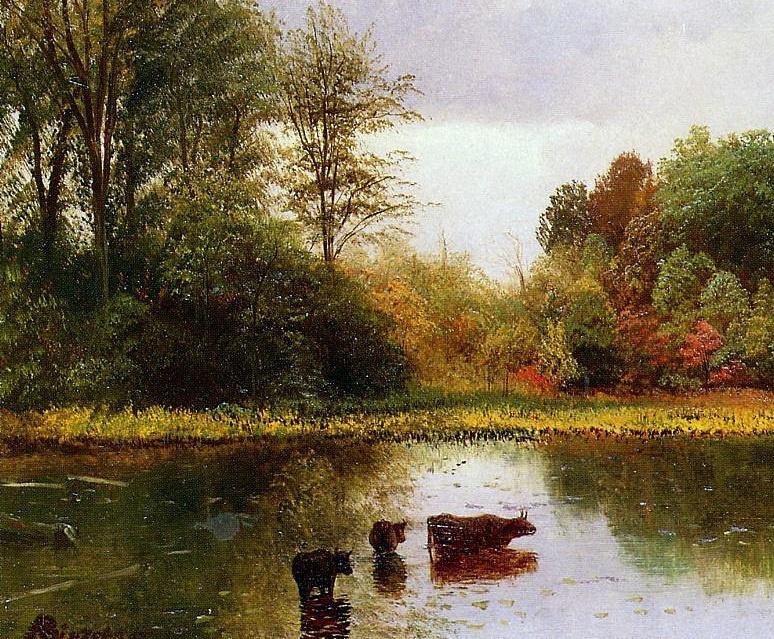 Альберт Бирштадт. Пейзаж с водоемом и коровами. Фрагмент