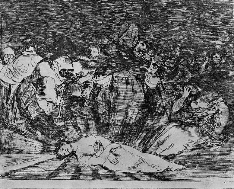 """Франсиско Гойя. Серия """"Бедствия войны"""", лист 79: Правда умерла"""