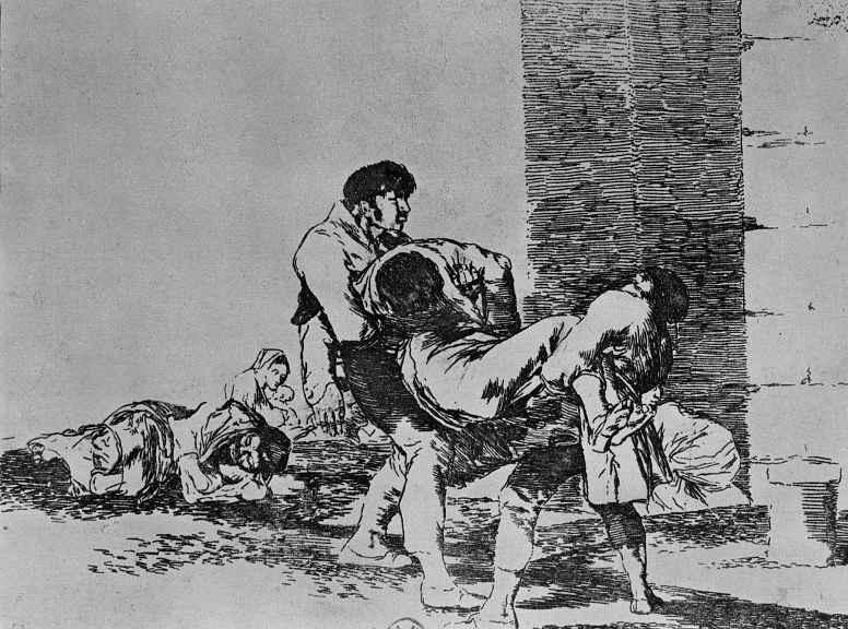 """Франсиско Гойя. Серия """"Бедствия войны"""", лист 56: На кладбище"""
