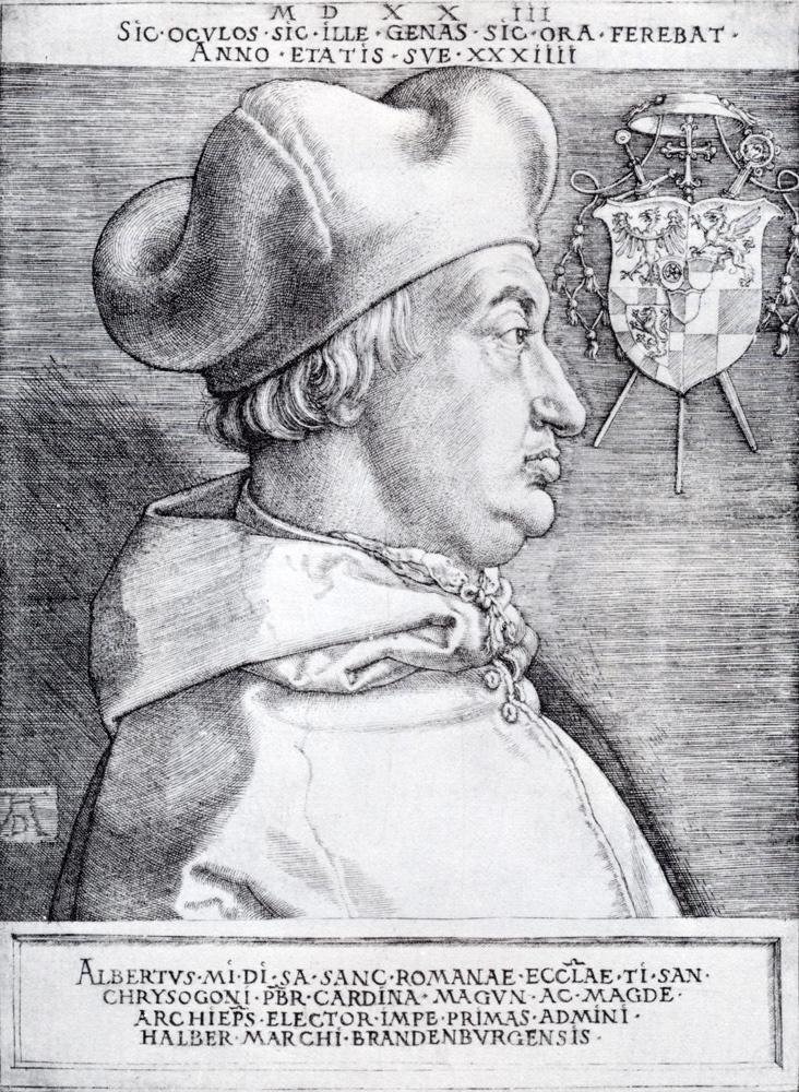 Albrecht Durer. Portrait of cardinal Albrecht of Brandenburg. Large cardinal