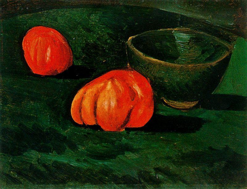 Пабло Пикассо. Натюрморт с зеленой миской и помидорами