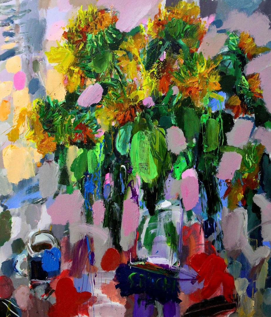 Ilya Pavlovich Spichenkov. Sunflowers. Evening