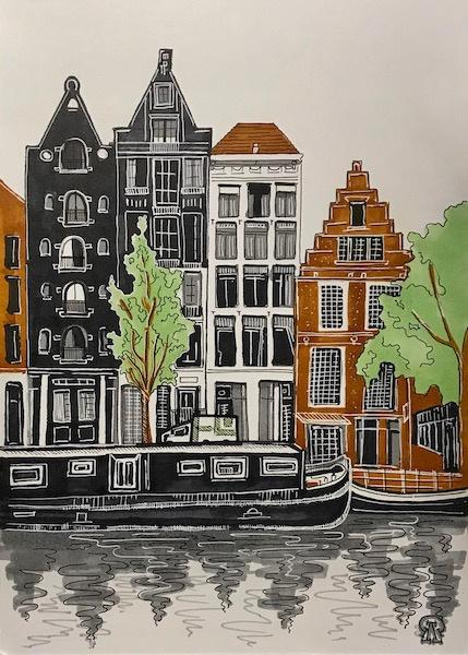 Larissa Lukaneva. Houses on the waterfront. Sketch.