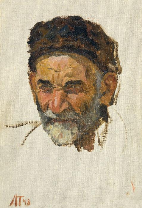 Leonid Anisimovich Tkachenko. Head of an old Azerbaijani man.