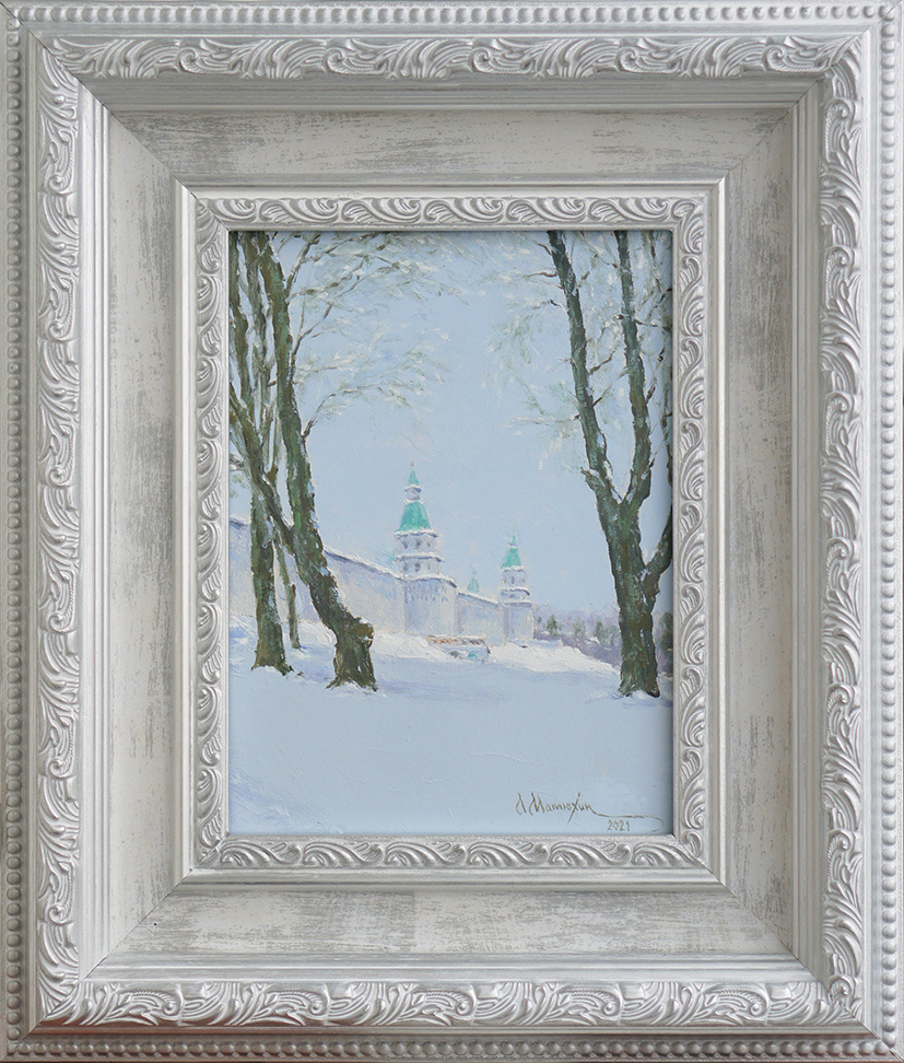 Alexander Matyukhin. 2021. View of the Efremov Tower. New Jerusalem (oil on canvas 18x24 cm)
