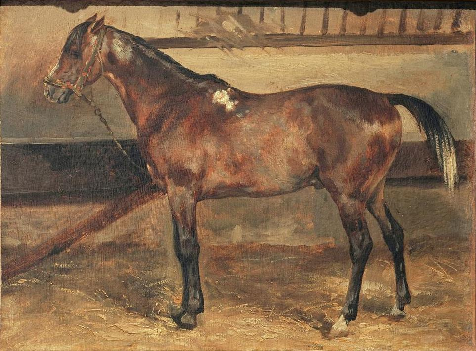 Théodore Géricault. Bay horse in a stall