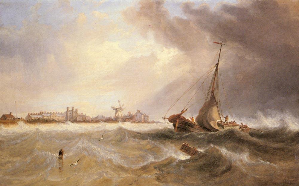 Джон Уилсон Кармайкл. Корабль покидает побережье по бурным волнам