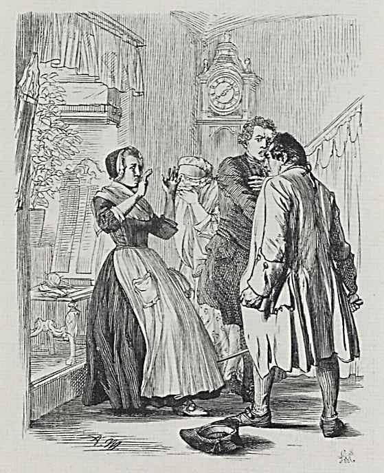 Адольф фон Менцель. Иллюстрация к сочинению Бертольда Ауэрбаха Слесарь из Виттенберга, Ссора в доме булочника Штенца