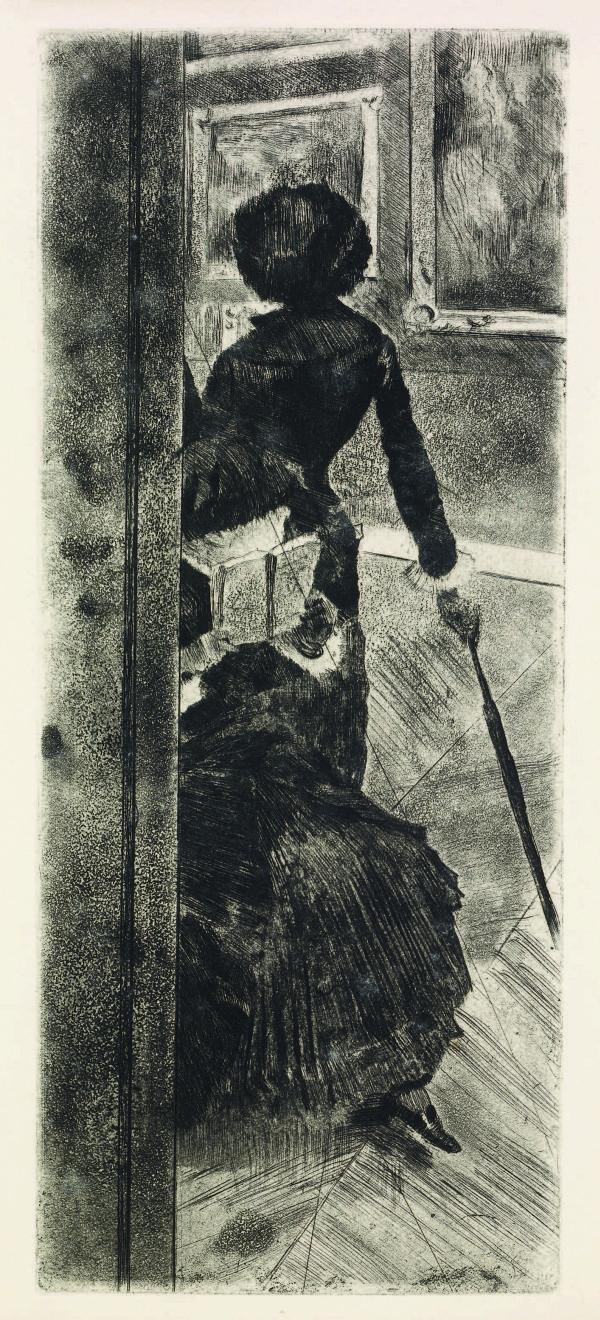 Edgar Degas. Mary Cassatt at the Louvre
