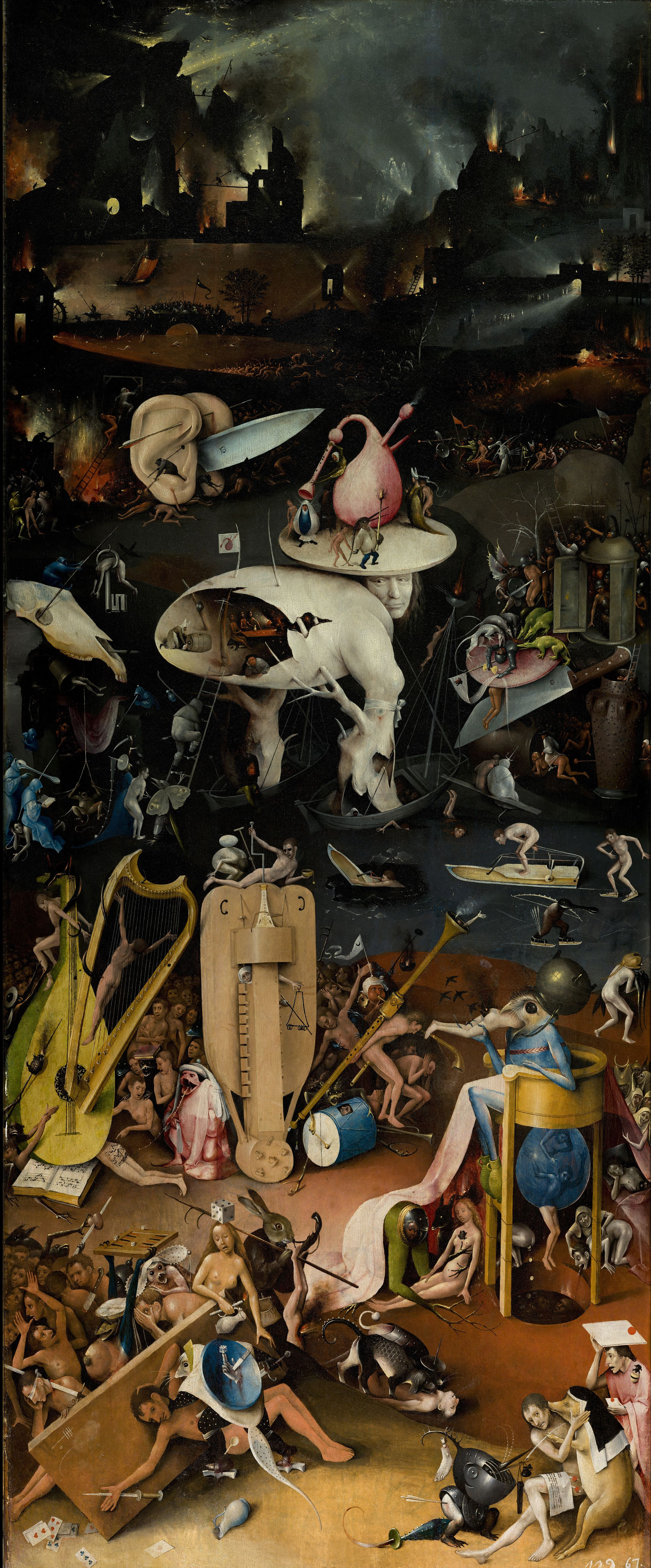 Hieronymus Bosch. The garden of earthly delights. Music Hell. Right wing.
