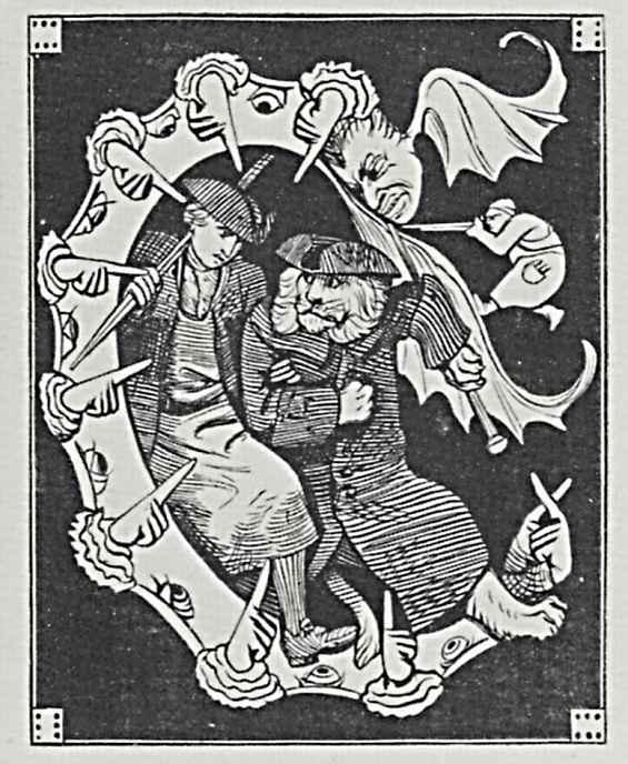 Адольф фон Менцель. Инициал Е с фигурами Слесаря и старого профессора