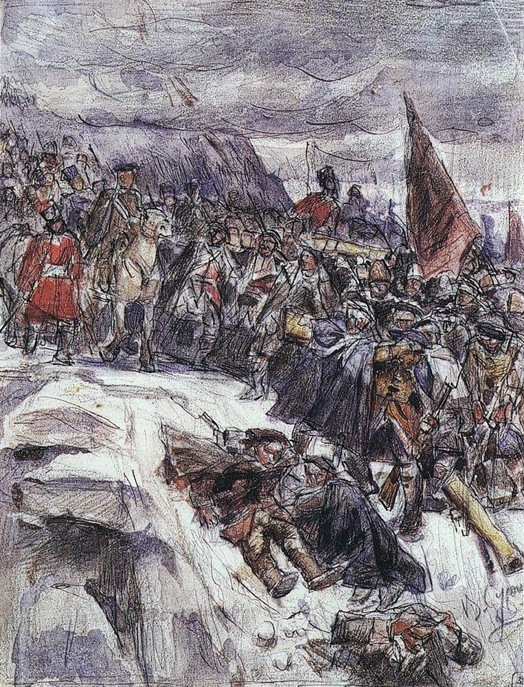 Василий Иванович Суриков. Переход Суворова через Альпы