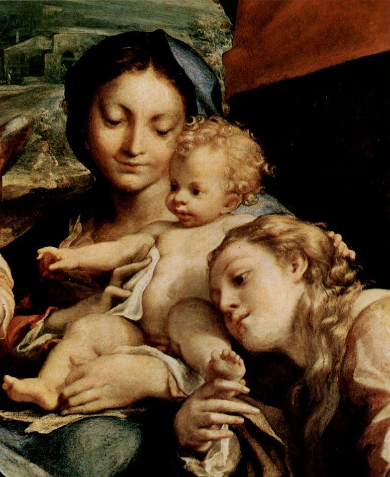 Антонио Корреджо. Мария с младенцем, св. Иероним, св. Мария Магдалина, Иоанн Креститель и ангел, деталь