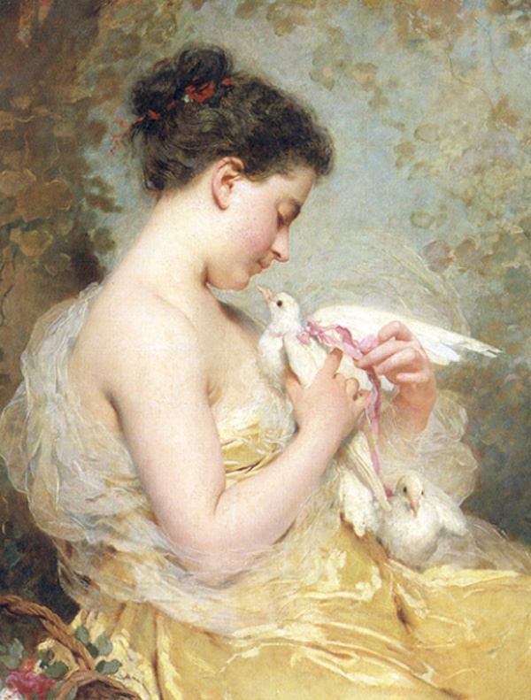 Charles Chaplin. A beauty with doves
