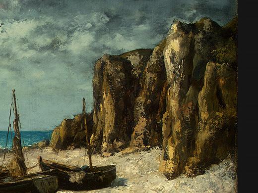 Гюстав Курбе. Лодки на пляже, Этрета. Фрагмент1