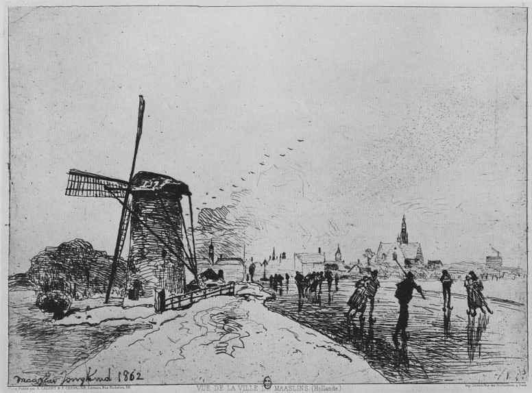 Ян Бартолд Йонгкинд. Вид города Маасслёйс