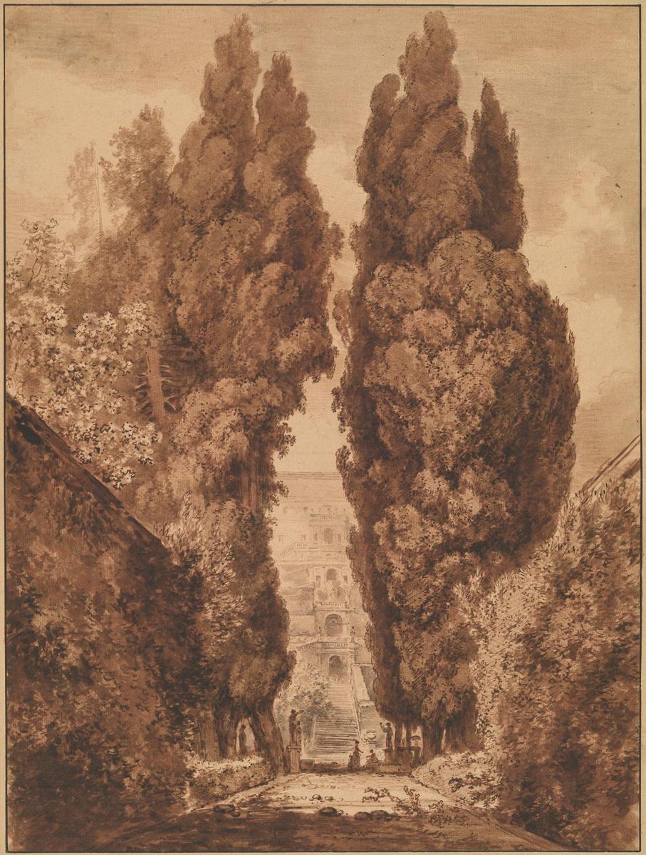 Jean Honore Fragonard. Cypress Avenue at Villa d'este