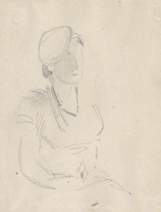 Natalia Nikolaevna Agapieva - Zakharova. Portrait of a woman in a beret.