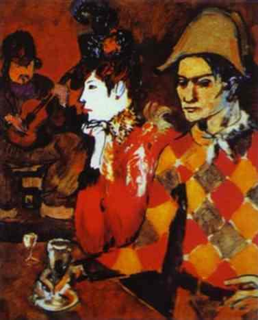 Пабло Пикассо. Арлекино с бокалом