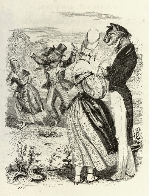 Jean Inias Isidore (Gerard) Granville. Horse Racing. Illustrations to the fables of Jean de Lafontaine