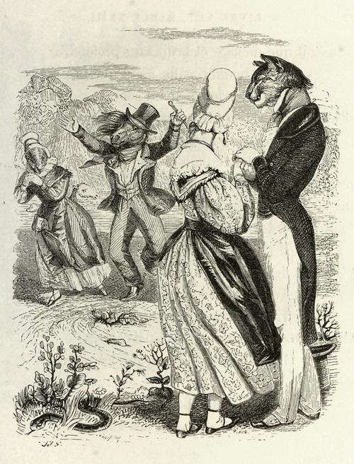 Жан Иньяс Изидор (Жерар) Гранвиль. Скачки. Иллюстрации к басням Жана де Лафонтена