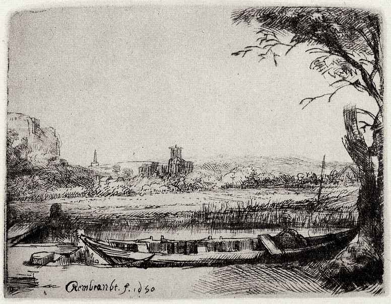 Рембрандт Ван Рейн. Пейзаж с лодкой