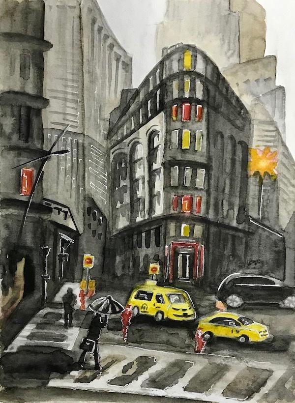 Larissa Lukaneva. Rain in the city. Sketch.