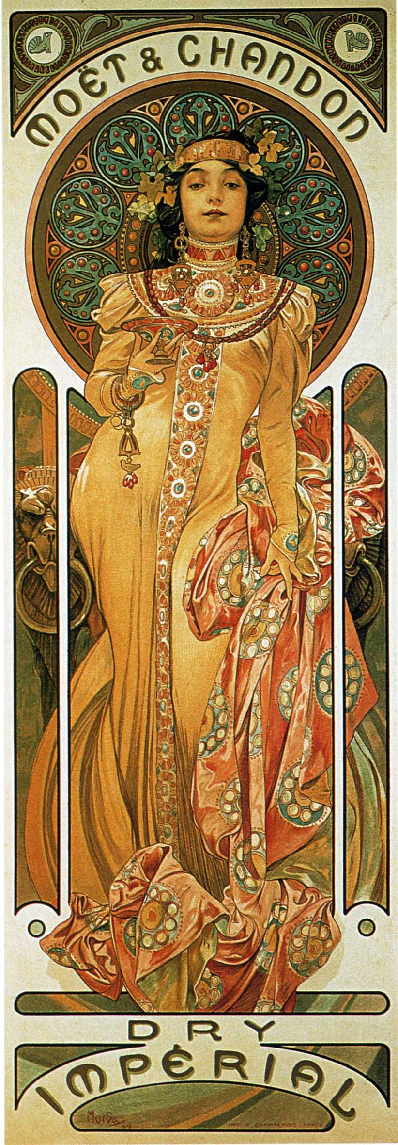 "Alfonse Mucha. Poster for ""the moët and Chardonnay: Dry Imperial"""