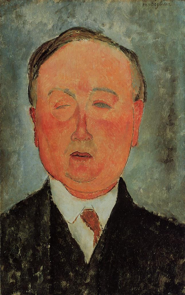 Amedeo Modigliani. Portrait of a man with a monocle