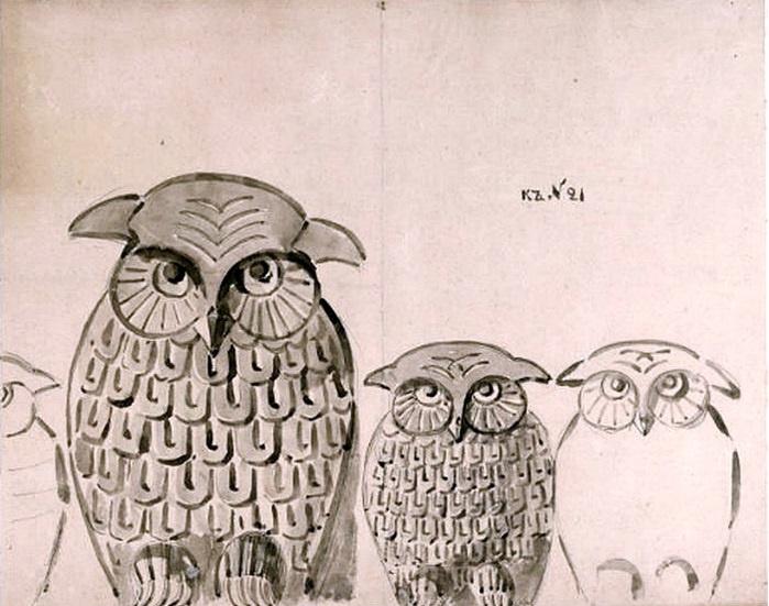 Elena Dmitrievna Polenova. Owls. Ornament for carving.