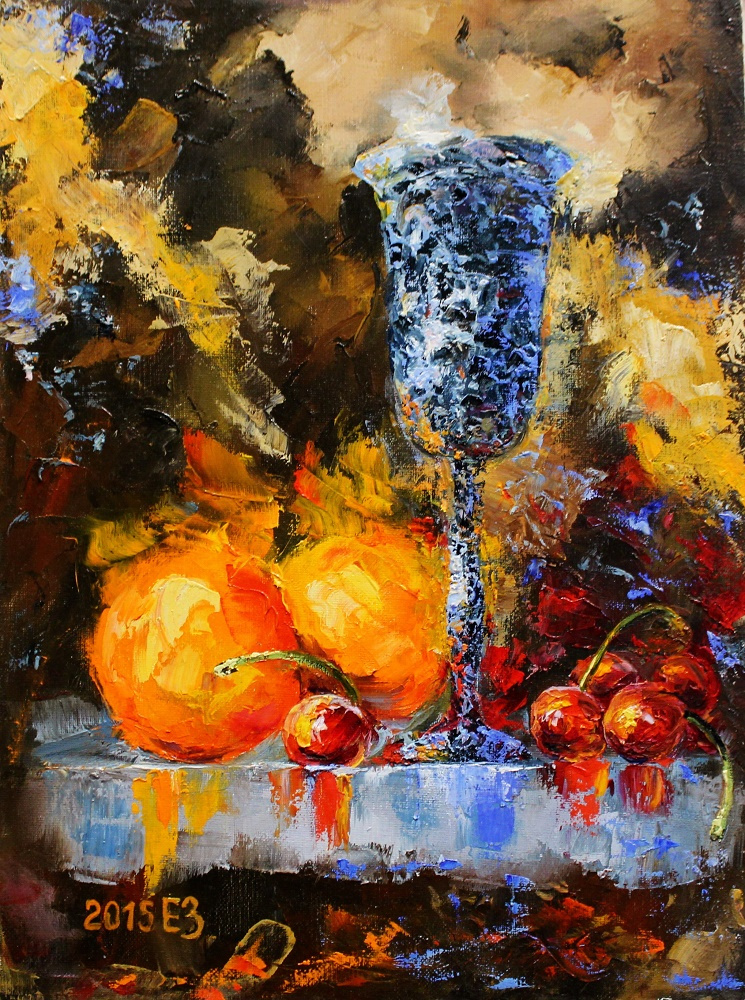 Elena Nikolaevna Zorina. Still life with cherries