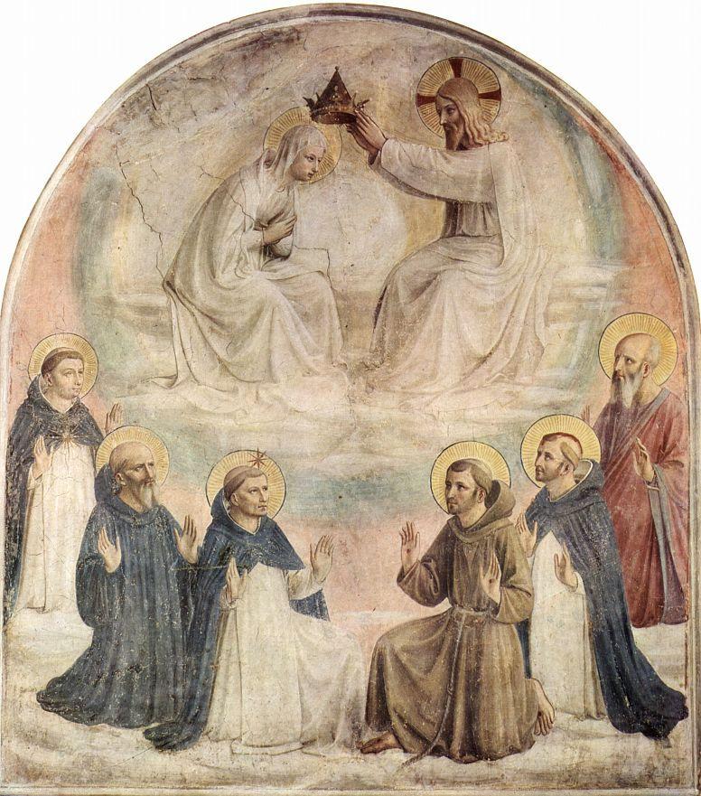 Фра Беато Анджелико. Цикл фресок доминиканского монастыря Сан Марко во Флоренции, сцена: Коронование Марии