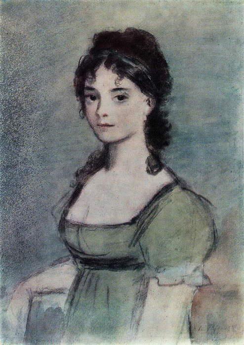 """Konstantin Ivanovich Rudakov. Natasha Rostova. Illustration for the novel """"War and Peace"""""""