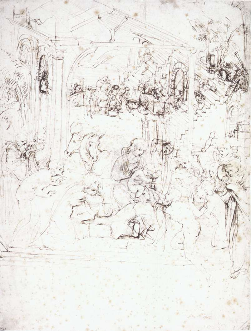 "Leonardo da Vinci. Sketches for ""the Adoration of the Magi"""
