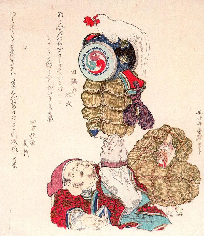 Кацусика Хокусай. Рисовые тюки с курами