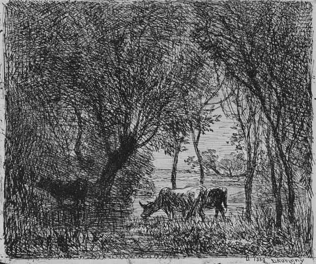 Шарль-Франсуа Добиньи. Коровы в лесу