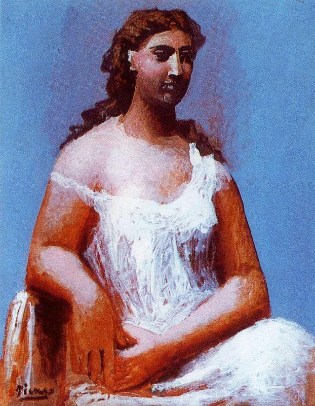 Ю. Пуджиес. Сидящая женщина в сорочке