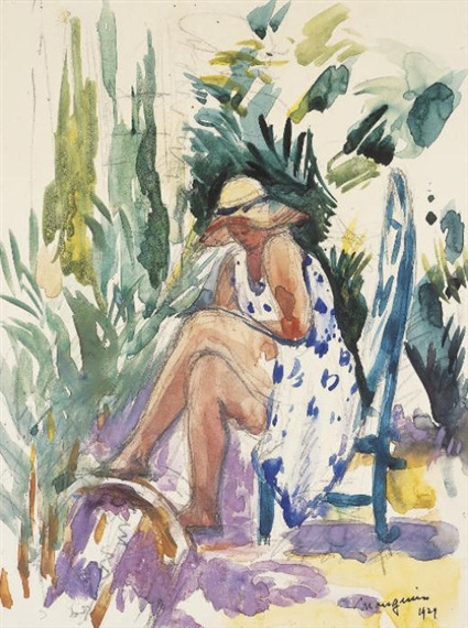 Henri Manguin. Odette in the garden