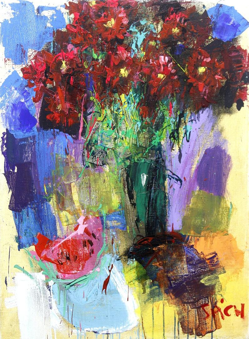 Ilya Pavlovich Spichenkov. Bouquet with watermelon