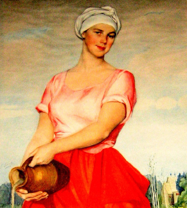 Saveliy Abramovich Sorin. Volga woman with a jug. (portrait of A. Kashina-Evreinovay). 1925