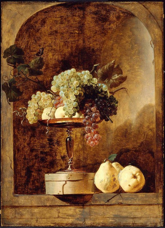 France Snyders. Bowl with grapes in a niche