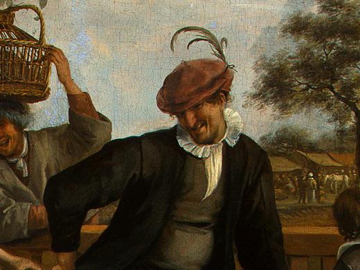 Ян Стен. Танцующая пара (фрагмент 3)