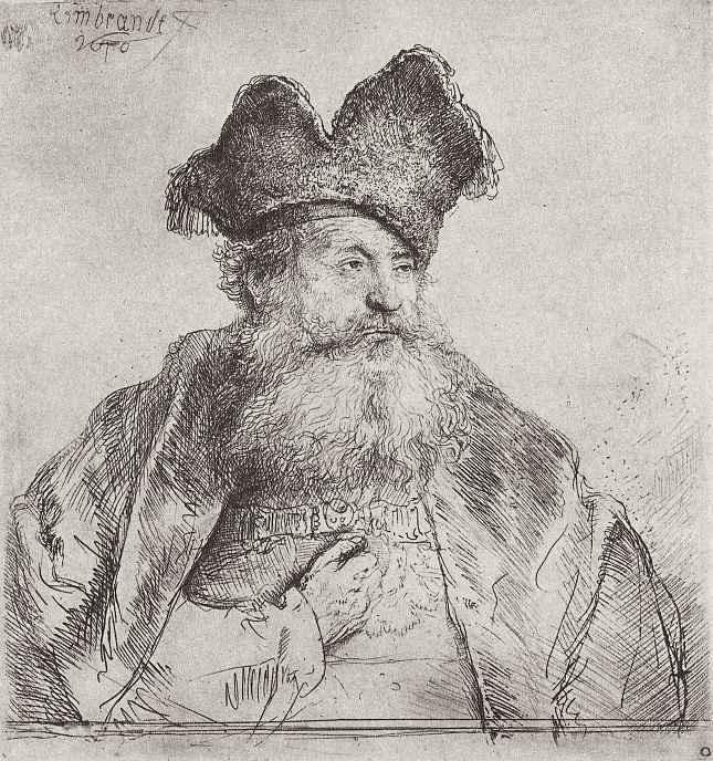 Рембрандт Ван Рейн. Портрет старика в раздвоенной меховой шапке