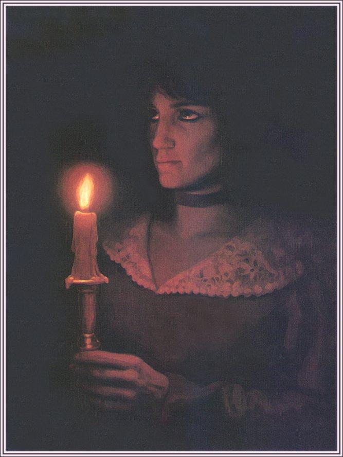 Грег Хильдебрандт. Зажженная свеча в руках