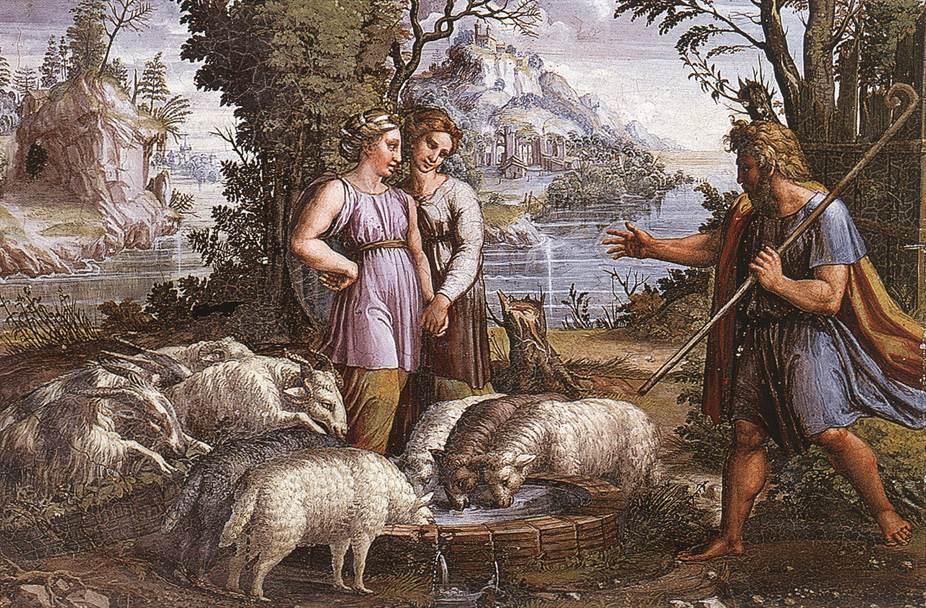 Рафаэль Санти. Встреча Иакова с Рахилью. Фреска лоджии Рафаэля второго этажа дворца понтифика в Ватикане