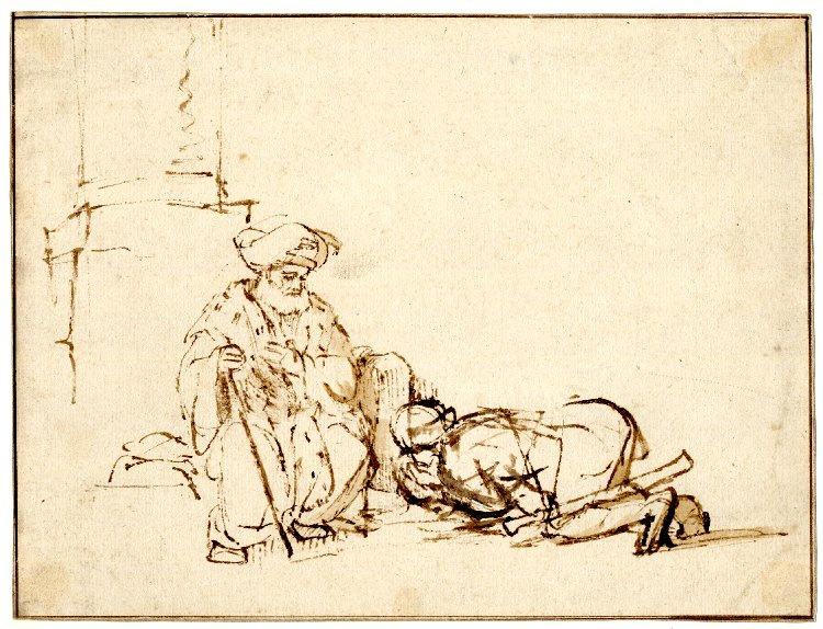 Rembrandt Harmenszoon van Rijn. Absolom bowing before David