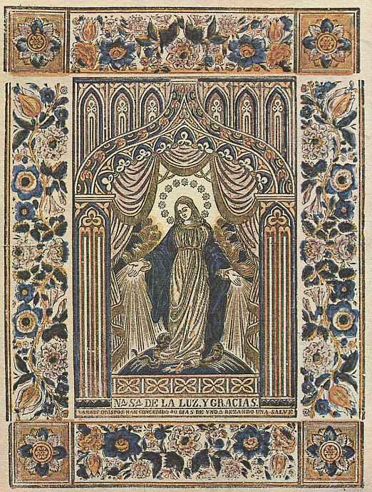 Ксилограф из печатни Эстивиль в Барселоне. Вотивный образ Девы Марии в лучах милосердия