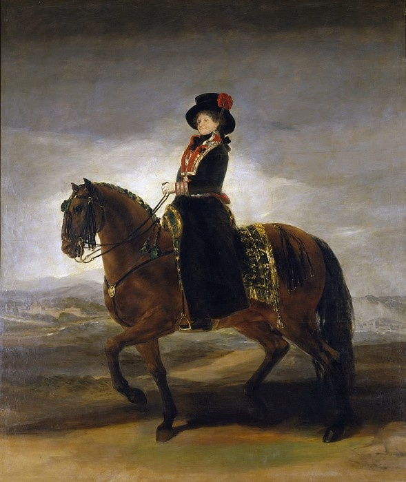 Francisco Goya. Queen of Spain Maria Luisa on horseback