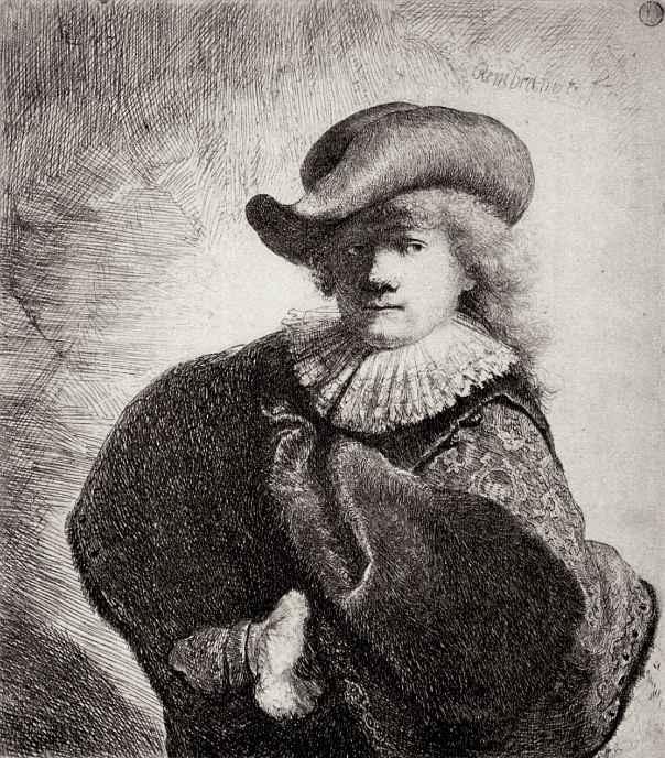Рембрандт Ван Рейн. Автопортрет в плаще и широкополой шляпе