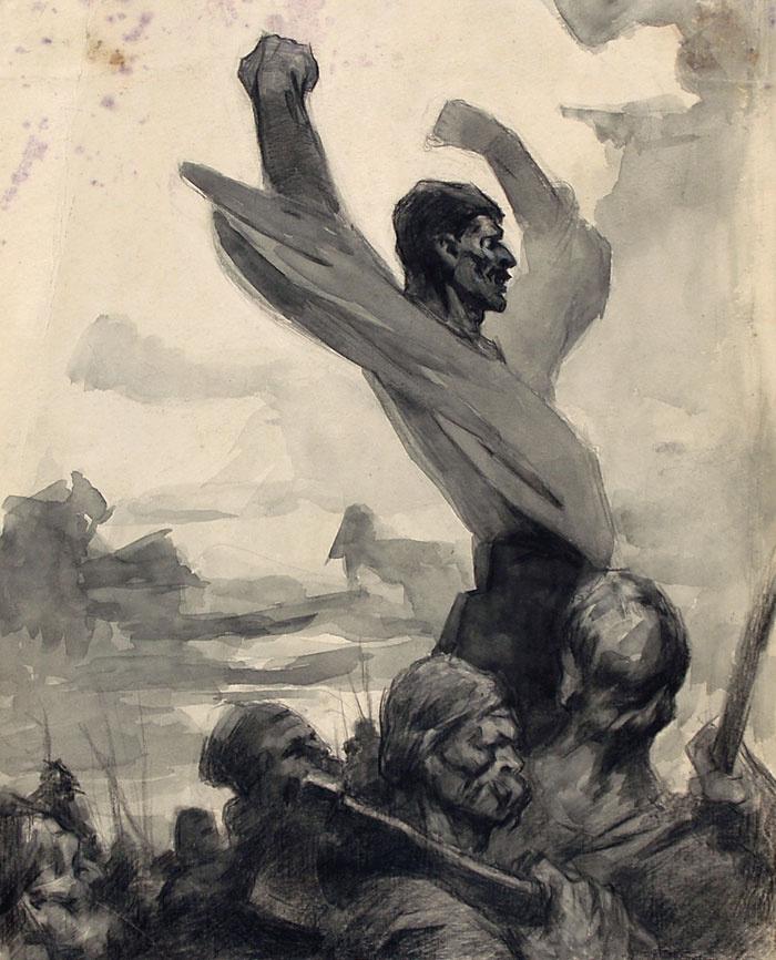 """Дмитрий (Орлов) Моор. Эскиз плаката. """"Кипит наш разум возмущенный""""  1924"""